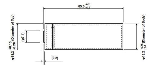 Wymiary akumulatora / ogniwa 18650