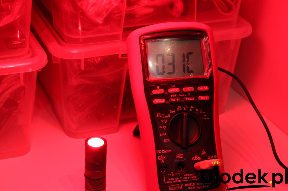 Nagrzewanie się latarki Convoy s2+ RED
